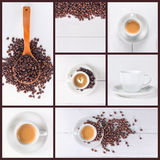 Coffee collage collection. Coffee photo collage collection of seven images Stock Images