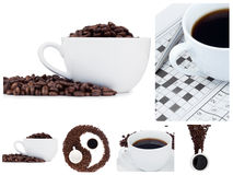 Coffee collage and ying yang symbol. Behind a white background Stock Photos