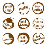 Coffee collection of round watercolor stains with. Royalty Free Stock Images
