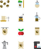COFFEE colored flat icons Royalty Free Stock Photo