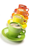 Coffee in colorful cups Royalty Free Stock Image