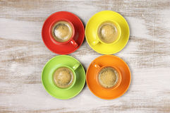 Coffee in colorful cups Royalty Free Stock Images
