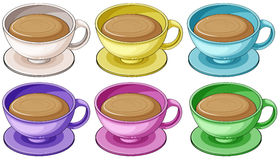 Coffee in colorful cups Royalty Free Stock Photo