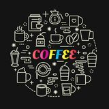 Coffee colorful gradient with line icons set Royalty Free Stock Photography