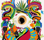 Coffee with colorful mexican theme. Top view of cup of fresh hot coffee with colorful mexican theme Stock Images