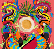 Coffee with colorful mexican theme. Top view of cup of fresh hot coffee with colorful mexican theme Stock Image