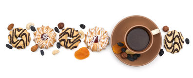 Coffee and colorful sweets Royalty Free Stock Image