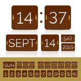 Coffee colour calendar with analog flip timer. Coffee color flip flat calendar with week days and monthes with flip timer and scoreboard numbers. Vector EPS10 royalty free illustration