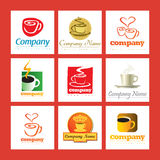 Coffee company logos. A set of company logos with coffee cups Stock Image