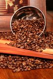 Coffee composition. On a wooden table Royalty Free Stock Photo