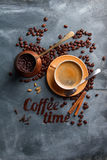 Coffee composition with cup and old coffee pot Stock Photos