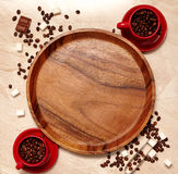 Coffee composition with red cups Stock Photos