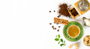 Coffee composition on a white background. Espresso, coffee grinder, milk, sugar. Space for text Royalty Free Stock Images