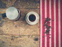 Coffee concept with cup and pot Stock Images