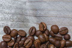 Coffee concept in front of gray wood Royalty Free Stock Images