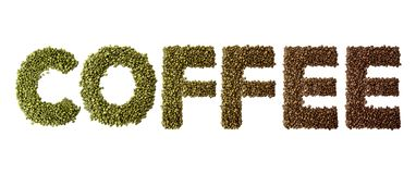 Word coffee made of roasted and green coffee beans isolated on white background. stock images