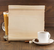 Coffee concept on wood Stock Images