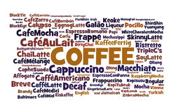 Coffee Connoisseur. A word cloud listing of the more popular ways of serving coffee in the world Royalty Free Stock Photos