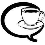 Coffee and conversation. Coffee cup with speech bubble. The .ai file is built with simple vectors and layered so each element can be isolated easily Royalty Free Stock Photos