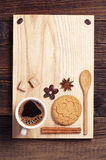 Coffee, cookie, cinnamon and anise Stock Photos