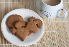 Coffee with cookie. Coffee with milk and cookie Stock Photos