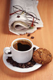 Coffee with cookie and newspaper Royalty Free Stock Photography