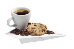 Coffee and cookie on a paper airplane Stock Photography
