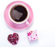 Coffee, cookie and present Stock Image