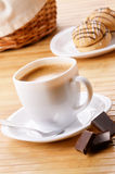 Coffee with cookie sandwich Royalty Free Stock Photography