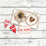 Coffee cookie Valentines Day decoration red hearts Be Mine royalty free stock photography
