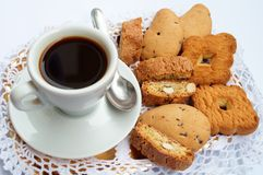 Coffee and cookies. Beautiful image of a cup of coffee and cookies Stock Photo