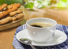 Coffee and cookies. On the wood table, outdoor Stock Images