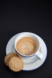 Coffee and Cookies on Black Background Stock Image