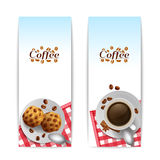 Coffee with cookies breakfast banners set Royalty Free Stock Photos