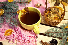 Coffee and cookies. Christmas decoration. Coffee and home-made cookies. Wooden table decorated with Christmas staff royalty free stock photo