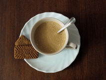 Coffee and cookies. Cup of coffe with cookies seen from above Royalty Free Stock Images
