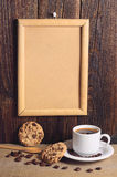 Coffee, cookies and empty frame Royalty Free Stock Photography