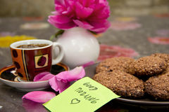 Coffee and Cookies and Flower Royalty Free Stock Photo