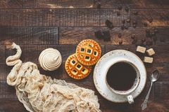 Coffee and cookies, food background Stock Photo