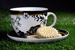 Coffee and cookies in the grass Stock Image