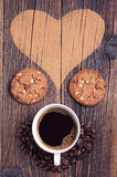 Coffee, cookies and heart Royalty Free Stock Photo