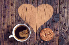 Coffee, cookies and heart Royalty Free Stock Image