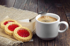 Coffee and cookies with jam Stock Photo