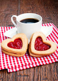 Coffee and cookies with jam Royalty Free Stock Photo