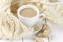 Coffee with cookies and knitwear Stock Photos