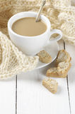 Coffee with cookies and knitwear Stock Images