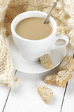 Coffee with cookies and knitwear Royalty Free Stock Images