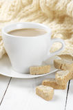 Coffee with cookies and knitwear Royalty Free Stock Photos