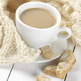 Coffee with cookies and knitwear Royalty Free Stock Photo