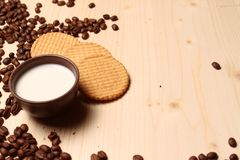 Coffee and cookies with milk Royalty Free Stock Photo